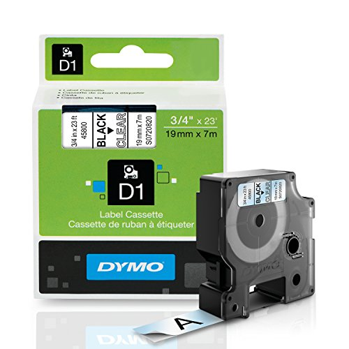 DYMO Standard D1 Labeling Tape for LabelManager Label Makers, Black print on Clear tape, 3/4'' W x 23' L, 1 cartridge (45800)