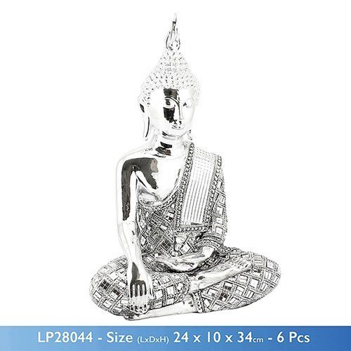 Silver Diamond Thai Buddha Large 24x10x34 cm by SILVER ART BUDDHA by SILVER ART BUDDHA