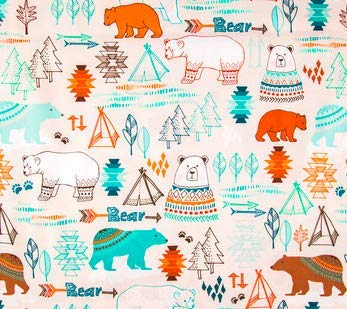 Fitted Crib Sheet in Tribal Bear Orange and Mint - Handmade in America by Twig + Bird
