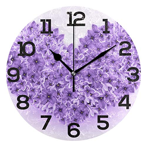 - Wall Clock Purple Flower Love Heart Romantic Round Acrylic Clock Black Large Numbers Silent Non-Ticking 9.45