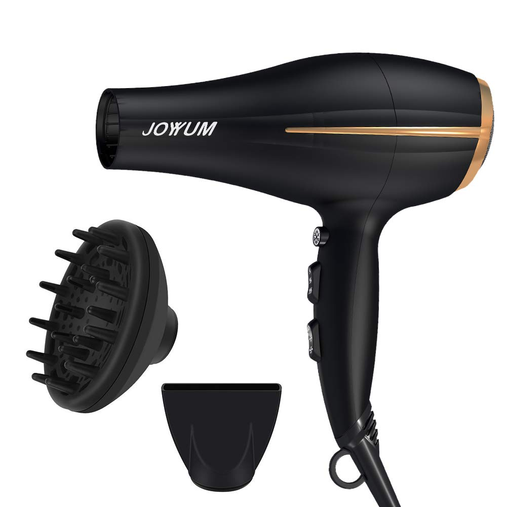 JOYYUM Hair Dryer 1875W Salon Performance AC Motor Ions Hair Blow Dryer Styling Tool with 3 Heating and 2 Speed Cool Shot Button,Concentrator and Diffuser, Black and Red