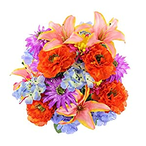 Admired By Nature GPB7357-LAV/OR/PK Faux Ranunculus Lily Hydrangea Mixed Flower Bush 68
