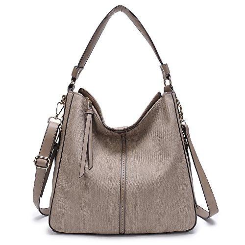 DDDH Vintage Hobo Handbags Shoulder Bags Durable Leather Tote Messenger Bags Bucket Bag For Women/Ladies/Girls (Grey-1) by DDDH
