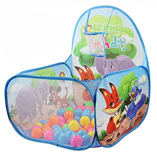 Diagonal Hoop (Kids Ball Toddler Ball Pit with Basketball Hoop and Zippered Storage Bag for Kids (blue))