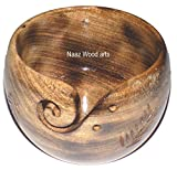 Naaz Wood Arts Wooden Yarn Bowl Hand Made with Mango Wood for Knitting and Crochet- Big Size - 6 X 4 Burn Antiqe with Hand Carving