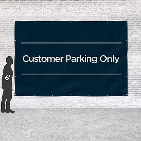 CGSignLab 9x6 Basic Navy Heavy-Duty Outdoor Vinyl Banner Customer Parking Only
