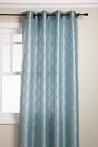 Stylemaster Hudson 55 by 84-Inch Embroidered Faux Silk Brass Grommet Panel, Spa ()