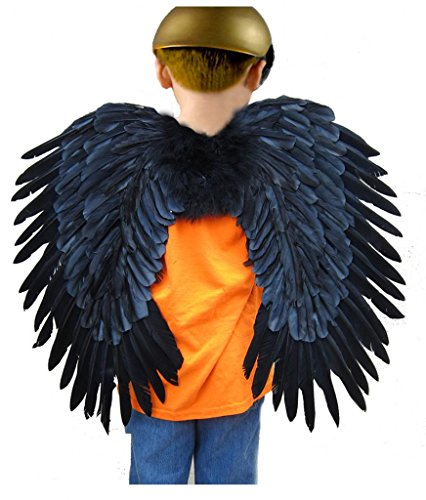 SACASUSA (TM) Duo Use Feather Fairy Angel Wings in Black 24x22inch (Costume Duos)