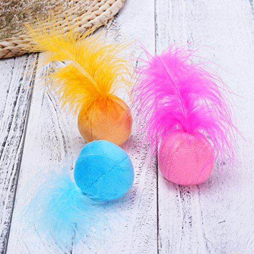 UEETEK Cat Feather Ball, Catnip Ball Interactive Toys with Bell for Kitten, Pack of 6 10