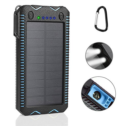 LANIAKEA 15000mAh Fire Starter Solar Charger, Dual USB External Battery Pack with 2 LED Lights Solar Panel Portable Charger Outdoor (Rainproof, Dust-Proof, Shockproof), Blue