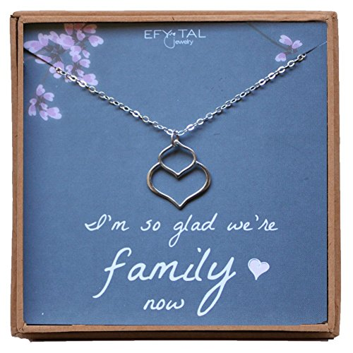 Mother, Sister, Daughter in Law Necklace, Sterling Silver Small Double Lotus Jewelry Gift, Bridal Party by Efy Tal Jewelry