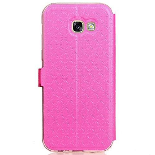 JIALUN-Personality teléfono shell Para Samsung Galaxy A520 funda de caja con tapa horizontal con ventana transparente y ranuras para tarjetas y cierre magnético Seguridad y Moda ( Color : Rose ) Rose