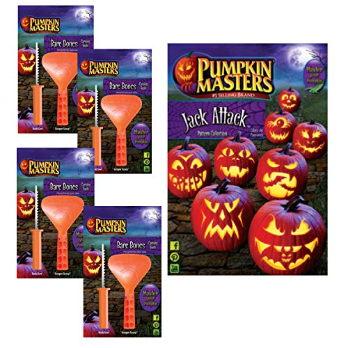 Halloween Pumpkin Carving Tool and Pattern Book Family Pack (set of 4 carving tools plus pattern book)