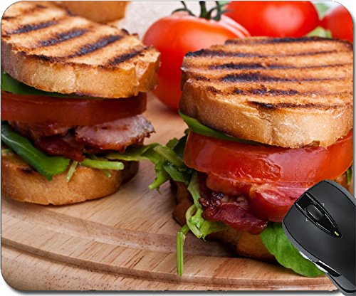 MSD Natural Rubber Mousepad Mouse Pads/Mat design: 31460946 Bacon lettuce and tomato BLT sandwiches with fresh ingredients at back