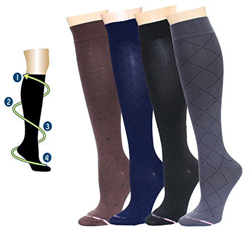 4 Pair Dr. Motion Therapeutic Graduated Compression Women's Knee-hi Socks (WCOMP-SL1)