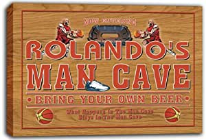 scqc1-0468 ROLANDO'S Basketball Man Cave Beer Pub Stretched Canvas Print Sign