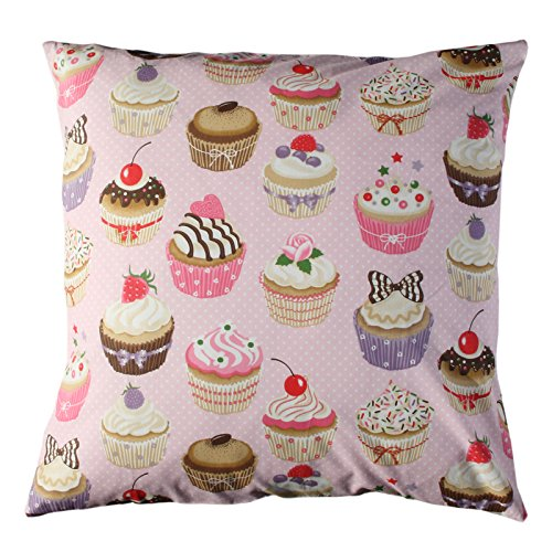 Cupcakes funda cojin - tela rosa - funda cojin - cojin ...