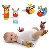 Fengus 4Pcs Baby Wrist Rattle Socks Toys Foot Finder Set with Ring Bell