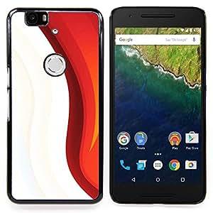 "Qstar Arte & diseño plástico duro Fundas Cover Cubre Hard Case Cover para Huawei Google Nexus 6P (Blanco rojo"")"