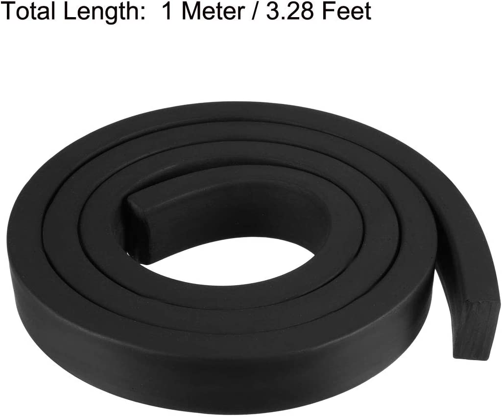 1 Meter Long Black uxcell Solid Rectangle Rubber Seal Strip 20mm Wide 10mm Thick
