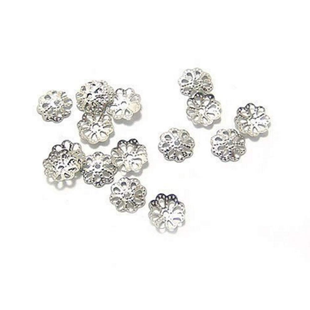 Yevison 100 Pcs Daisy Flower Bead End Caps Silver Plated Flower Petal Bead Caps Round Daisy Spacers for Earrings Bracelets Necklaces Durable and Useful by Yevison