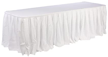 Displays2go Set Of White Linens For Banquet Tables, 72 X 30 Inch, Includes