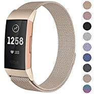 CAVN Compatible Fitbit Charge 3 / Charge 3 SE Bands Women Men Small Large, Metal Milanese Loop Stainless Steel Replacement Magnetic Accessory Straps Bracelet