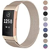(US) CAVN Metal Bands Compatible for Fitbit Charge 3 / Charge 3 SE Bands Women Men Small Large, Replacement Stainless Steel Accessory Watch Wrist Straps