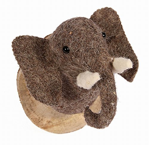 Karma Living Stuffed Animal Felted Wool Elephant Head Mount Trophy Wall Art Wood Plaque - Handmade