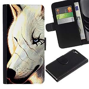 Planetar® Modelo colorido cuero carpeta tirón caso cubierta piel Holster Funda protección Para Apple iPhone 5 / iPhone 5S ( White Wolf Cicatrices Cara Scarface Ojos azules )