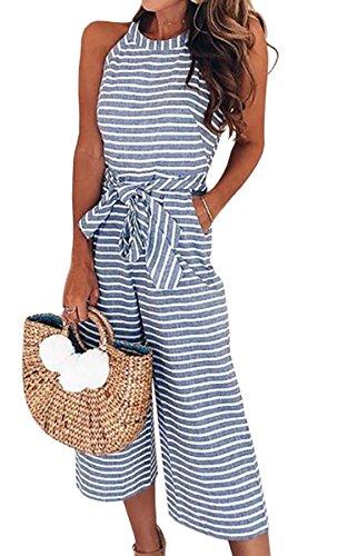 ECOWISH Women's Summer Striped Sleeveless Waist Belted Zipper Back Wide Leg Jumpsuit Romper with Pockets 0930 Blue Large