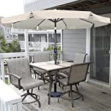 Apontus Market Patio Umbrella 9′ Aluminum Tilt W/ Crank Outdoor (Tan) Review