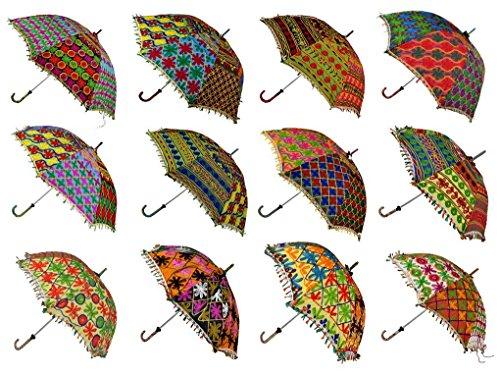 Wholesale Lot 10 PCS Multi Colored Indian Cotton Fashion Sun Umbrella Embroidered Umbrellas -