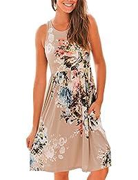 Womens Summer Sleeveless Floral Print Racerback Midi...