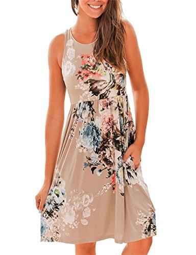 OURS Womens Summer Boho Sundresses Floral Print Raceback Dresses with Pocket Brown L