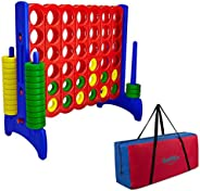 Giant 4 in a Row Connect Game - Storage Carry Bag Included - 4 Feet Wide by 3.5 Feet Tall - Oversized Floor Activity for Kid