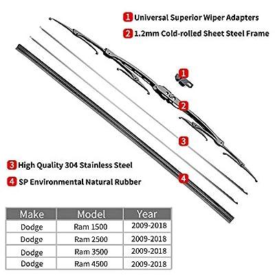 For Dodge Ram 1500, 2500, 3500, 4500 Windshield Wiper Blades - 22