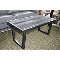 The Barnwood Furniture Co. Authentic Barn Wood & Steel U Leg Coffee Table (Mill Finish Dark Grey Steel)
