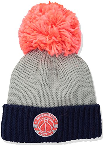 fan products of NBA Washington Wizards Women's Cuffed Knit Hat with Neon Pom, Grey, One Size
