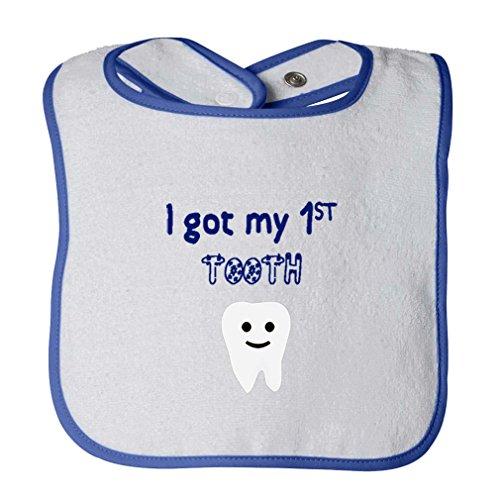 I Got My 1St Tooth Infant Contrast Trim Terry Bib White/Royal ()