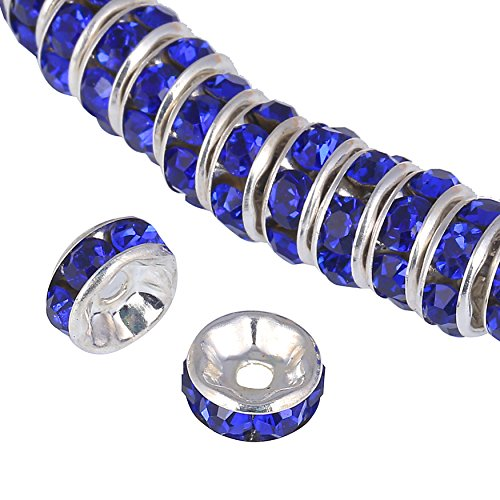 - Bingcute 100Pcs Bright Silver 8mm Royal Blue Crystal Rondelle Spacer Beads for jewelery making