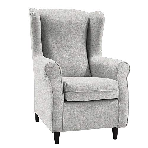 HOGAR TAPIZADO Butaca sillón orejero Nadia Tapizado en Microfibra Water Repellent Medidas:100 x 72 x 74 (Crudo)