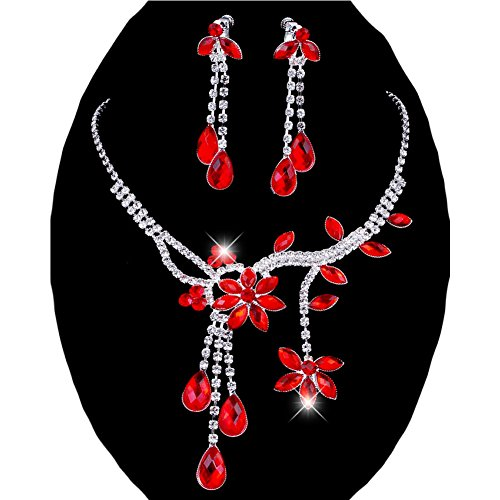 Flower Rhinestone Wedding Necklace Crystal - Chunlin Wedding Bridal Flower Leaf Rhinestone Crystal Necklace Drop Earrings Jewelry Set (Red)