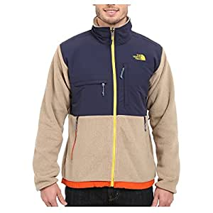 The North Face Mens Denali Jacket Small, Recycled Dune Beige Heather/Cosmic Blue