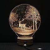 Geekercity 3D Engraving Desk Lamp Night Light, Warm White 3D Carving LED Moonlight Table Home Decoration USB Nightlight for Bedroom Kids Room, Christmas Gifts (Deer)