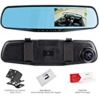 Dash Cam, OUMAX Dual Lens Car Camera, Car Video Recorder for Vehicles Front and Rear DVR, 4.3 Inch Screen, HD1080P(SD card excluded) - Black