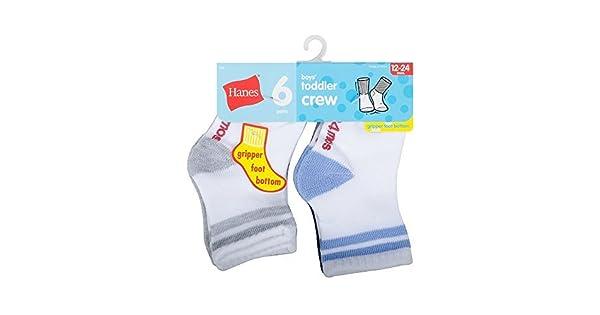 Assorted Hanes Toddler Boys 6-Pack Crew Socks 5//2T-3T