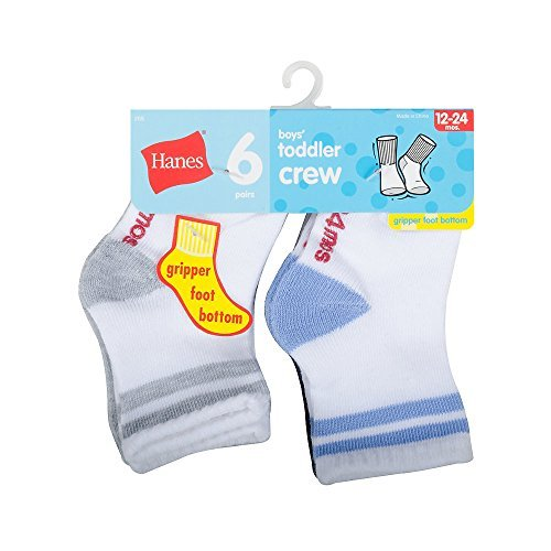 Hanes Boys' Toddler Crew Non-Skid Socks, White/Gray, Size: 5; Age: 2-3 Years Old