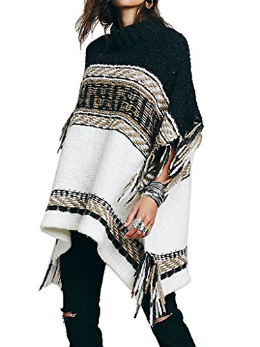 Choies Womens Batwing Fringed Sweater