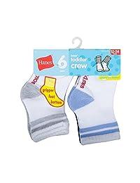Hanes Boys' Toddler Crew Non-Skid Socks
